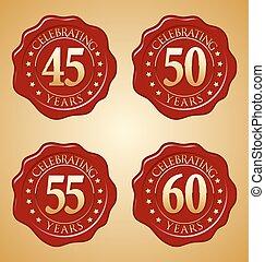 50th, 60th, cire, anniversaire, cachet