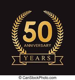 50th, aniversário, ouro, anos