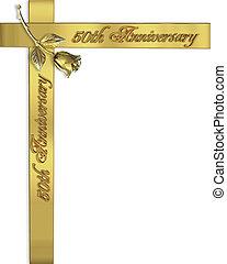 50th, aniversario de la boda, invitación