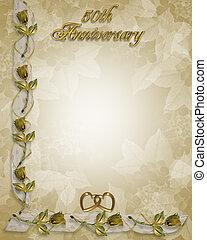 50th, aniversario, oro, invitación