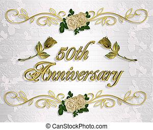 50th, anniversaire, invitation