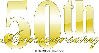 50th Anniversary - 50th year anniversary golden isolated...