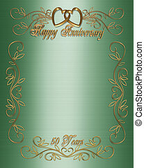 50th Anniversary Green - Illustration composition 3D design...