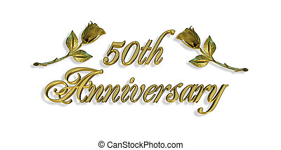 Image and Illustration composition for 50th Wedding anniversary invitation or card