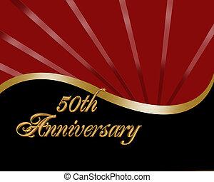50th Anniversary invitation - Illustration composition red, ...
