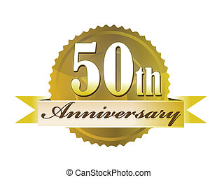 50th year anniversary golden seal isolated over a white background. vector file also available.