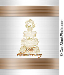 50th anniversary Wedding cake invitation