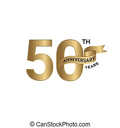 50th anniversary years ribbon gold color