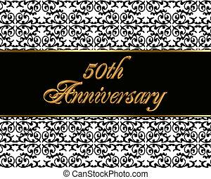 50th, carte, anniversaire, invitation