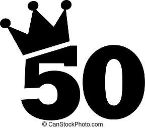 50th, compleanno, numero, corona