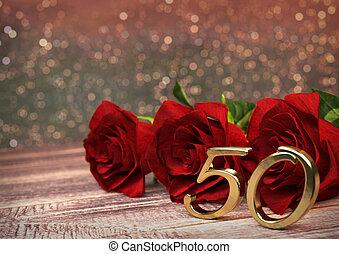 50th., concept, render, bois, roses, desk., anniversaire, birthday., cinquantième, rouges, 3d