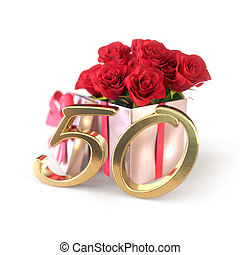 50th., concept, render, cadeau, roses, fiftieth., isolé, arrière-plan., anniversaire, blanc rouge, 3d
