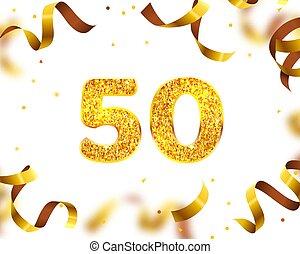 50th, fly., gold, jubiläum, vektor, banner, geschenkband