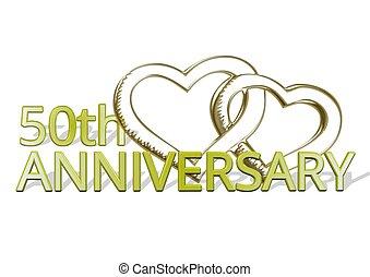 50th, gratulation, jubilaeum, herzen