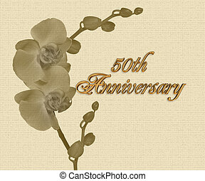 50th, invitation, orchidées, anniversaire