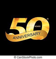50th, jubileum, illustratie, vector, mal, logo