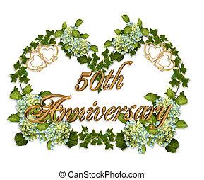 50th, jubileum, klimop, en, hortensia
