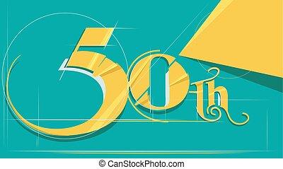 50th, ontwerp, jubileum, getal