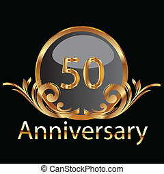 50th, oro, anniversario