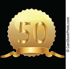 50th, oro, vettore, anniversario