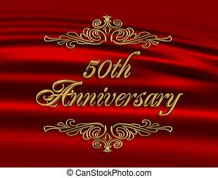 50th, uitnodiging, jubileum, rood, trouwfeest