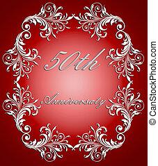 50th, verjaardag kaart, trouwfeest