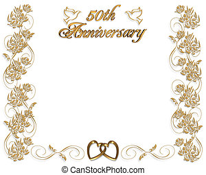 3D Illustrated design for 50th wedding Anniversary card or invitation with copy space.