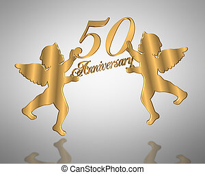 50th Wedding Anniversary angels - illustration composition...