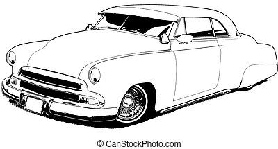 51 Custom Lowrider - Black Line Illustration