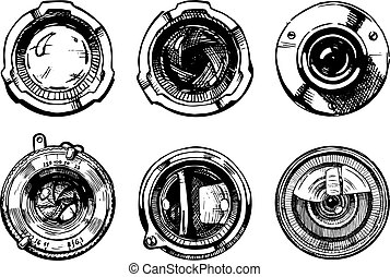524 - Vector hand drawn illustration of the camera lens set ...