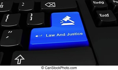 526. Law And Justice Round Motion On Computer Keyboard Button.