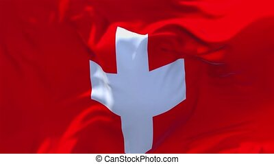 53. Switzerland Flag Waving in Wind Continuous Seamless Loop Background.