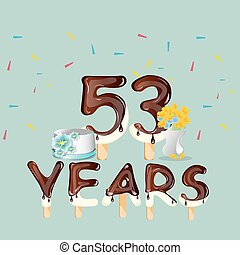 53 years Happy Birthday card