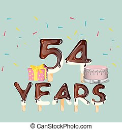 54 Years Happy Birthday card