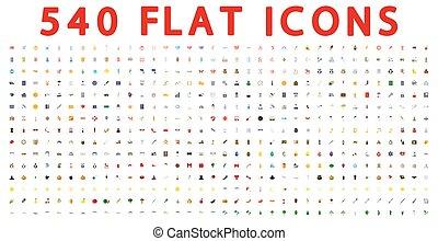 540, plano, iconos