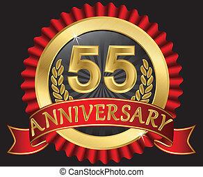 55, doré, anniversaire, années