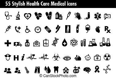 55, elegante, médico, cuidados de saúde, ícones, jogo
