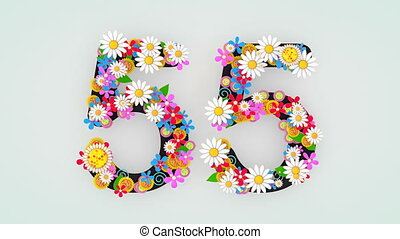 """55."""", floral, animation, """"numerical, chiffre"""