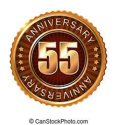55, jahre, jubiläum, goldenes, brauner, label.