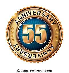 55, jahre, jubiläum, goldenes, label.