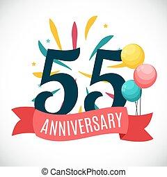 55, jubileum, illustratie, jaren, vector, mal, lint