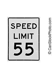 55, límite de velocidad, aislado, señal