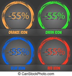 55 percent discount sign icon. Sale symbol. Special offer label. Fashionable modern style. In the orange, green, blue, red design. Vector