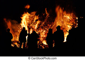 55, -, walpurgis, hexenfeuer, nuit, feu