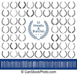 55 wreaths and branches set. Vector