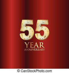 55 Year Anniversary Gold With Red Background Vector Template Design Illustration