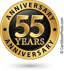 55 years anniversary gold label, vector illustration