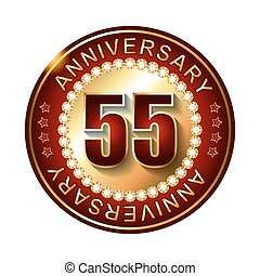 55 Years anniversary golden label.