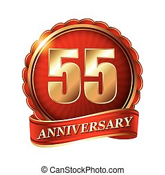 55 years anniversary golden label with ribbon.