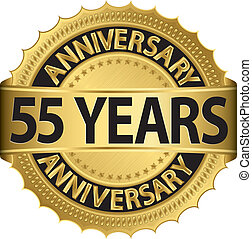 55 years anniversary golden label